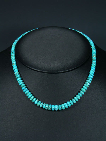 Native American Single Strand Graduated Turquoise Choker Necklace