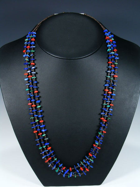 Native American Lapis and Coral Heishi Three Strand Necklace