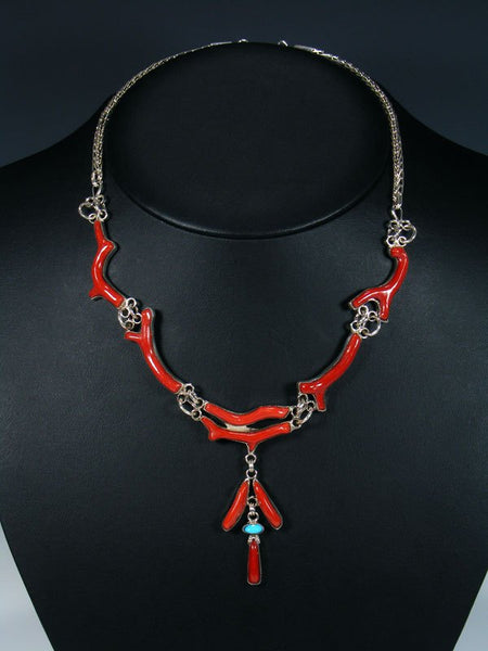 Native American Branch Coral and Turquoise Necklace and Earring Set