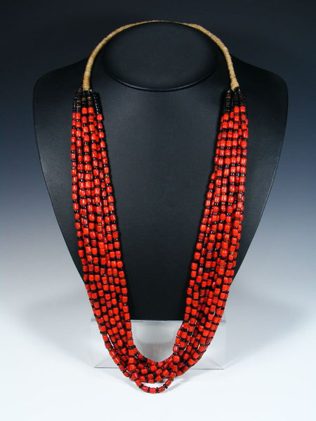 Santo Domingo Ten Strand Coral and Penn Shell Heishi Necklace