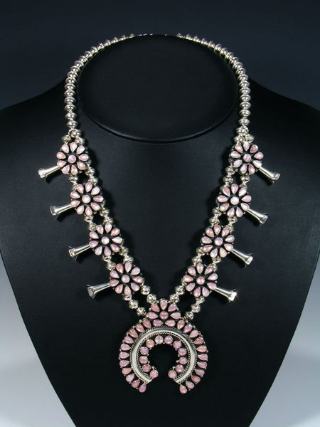 Native American Pink Shell Squash Blossom Necklace and Earrings Set