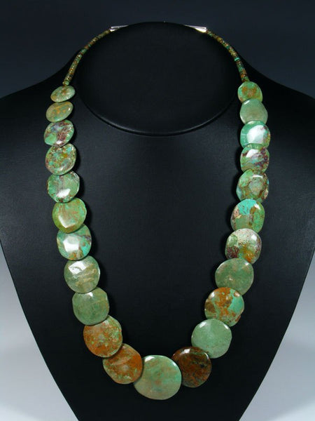 Native American Green Turquoise Disc Necklace