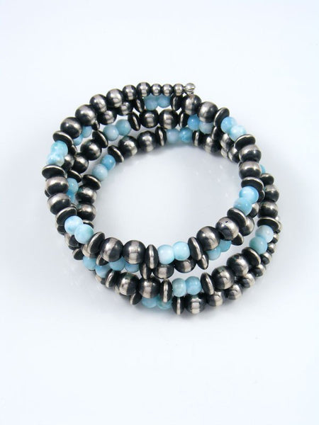 Native American Sterling Silver Blue Larimar Wrap Bracelet