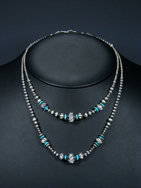 Double Strand Native American Turquoise and Sterling Silver Bead Necklace