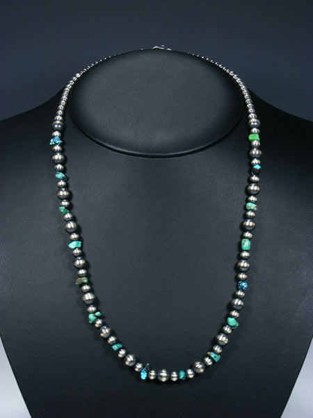 Native American Turquoise and Silver Bead Necklace