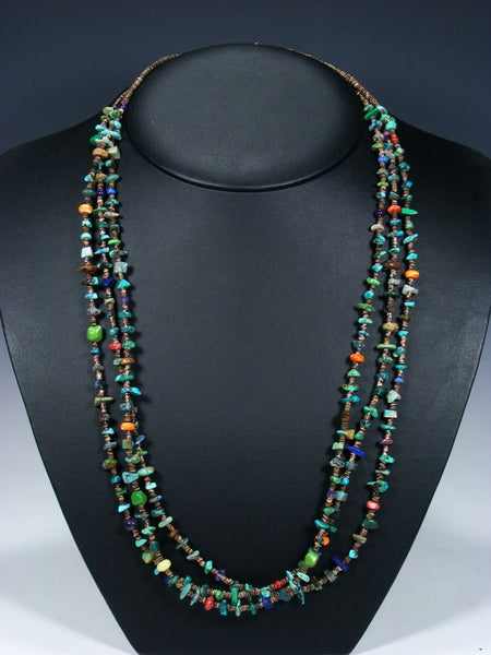 Native American Turquoise and Heishi Three Strand Necklace