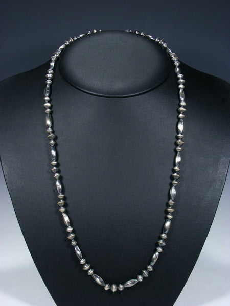 "28"" Native American Sterling Silver Navajo Handmade Bead Necklace"