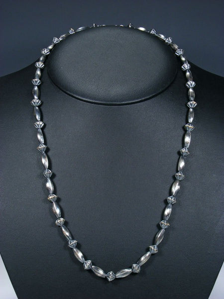 "24"" Native American Sterling Silver Navajo Handmade Bead Necklace"