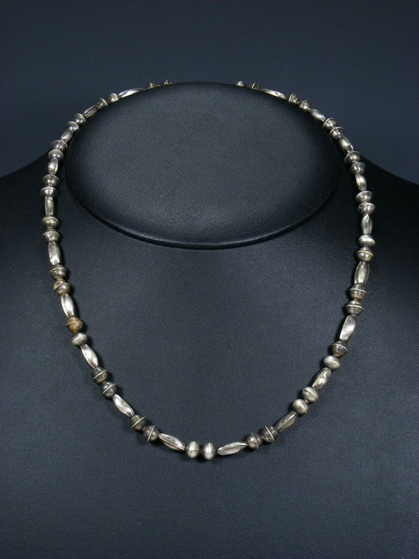 "20"" Native American Sterling Silver Navajo Handmade Bead Necklace"
