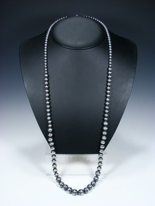 "37"" Extra Long Native American Silver Bead Necklace"