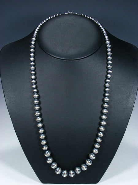 "28"" Long Native American Silver Bead Necklace"