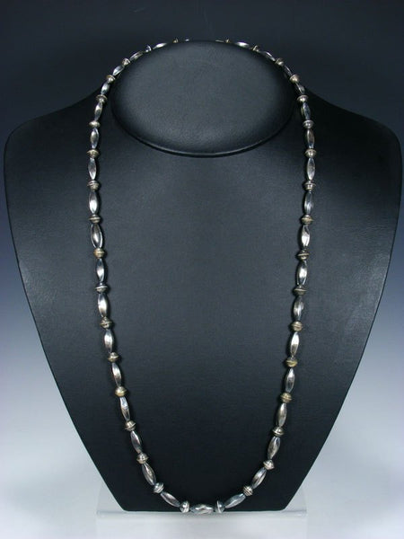 "30"" Native American Sterling Silver Navajo Handmade Bead Necklace"