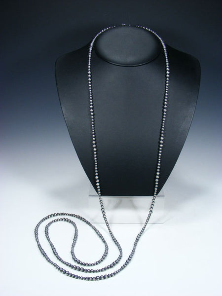 "72"" Extra Long Native American Silver Bead Wrap Necklace"
