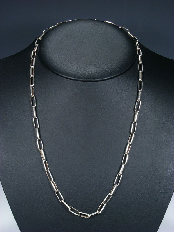 "Navajo 25"" Handmade Sterling Silver Link Chain Necklace"