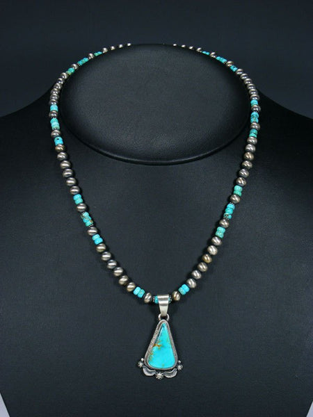 Native American Sterling Silver Royston Turquoise Necklace