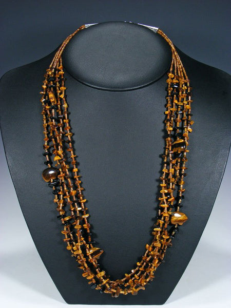 Native American Tiger Eye and Onyx Fetish Bear Necklace