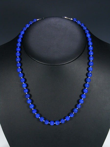 Native American Lapis and Silver Bead Necklace