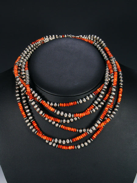 Native American Sterling Silver and Spiny Oyster Three Strand Bead Necklace Set