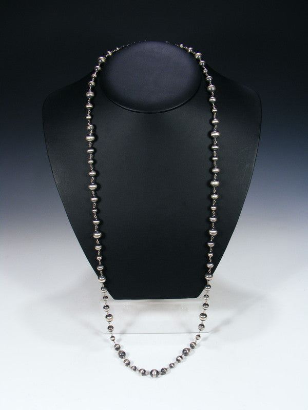 Extra-Long Sterling Silver Bead Necklace