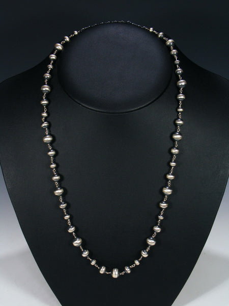Medium Sterling Silver Bead Necklace