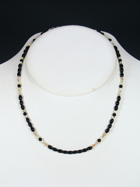 Native American Onyx and Monarch Opal Bead Necklace