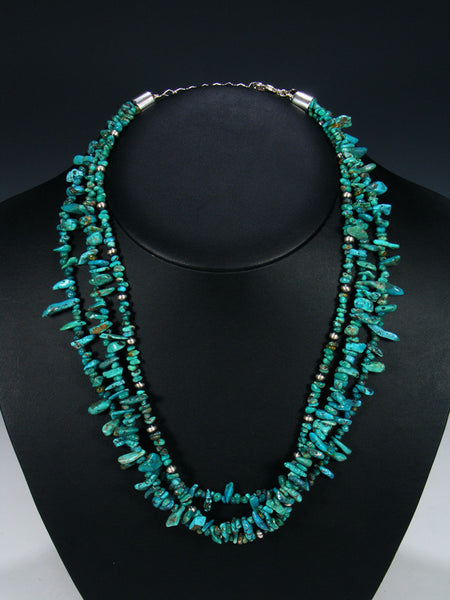 Native American Turquoise and Silver Bead Three Strand Necklace