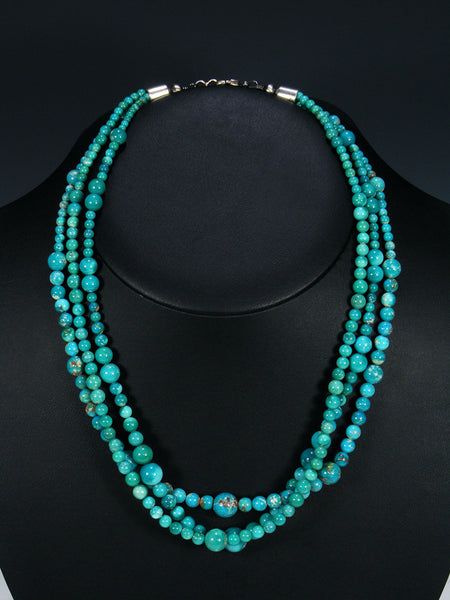 Native American Turquoise Three Strand Necklace