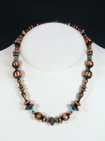 Native American Copper Bead and Turquoise Necklace