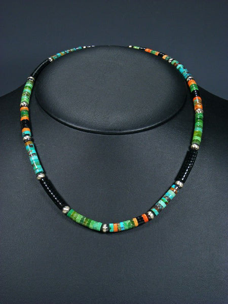 Turquoise and Apple Coral and Sterling Silver Bead Necklace