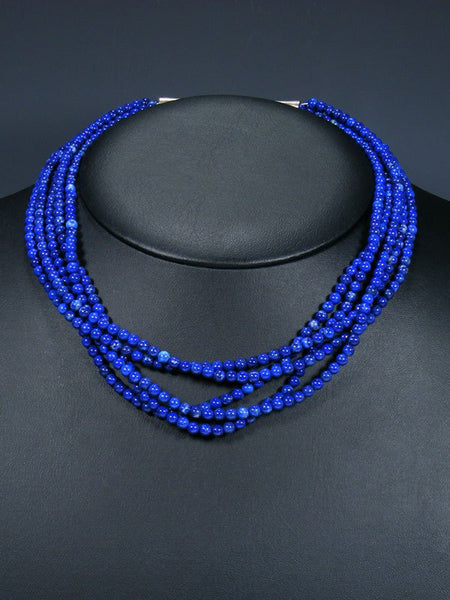 Native American 5 Strand Lapis Choker Necklace