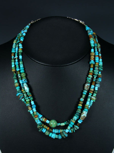 Native American Triple Strand Blue and Green Turquoise Necklace