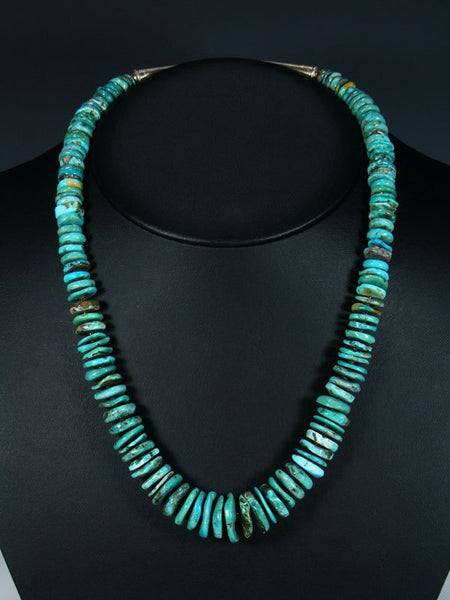 "22"" Native American Indian Jewelry Single Strand Turquoise Choker Necklace"