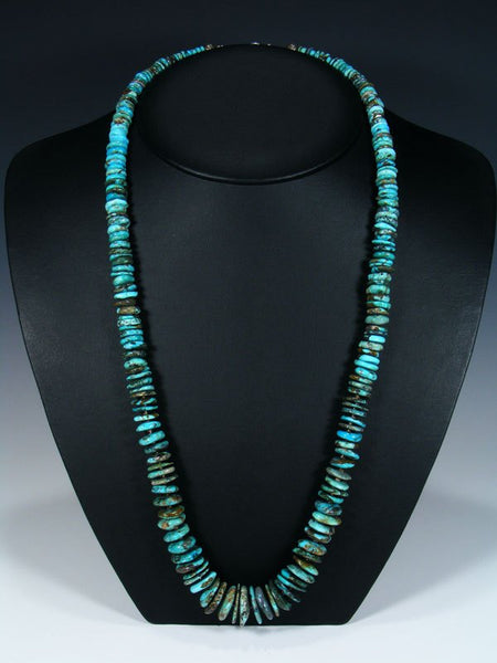 Long Native American Indian Jewelry Single Strand Turquoise Necklace