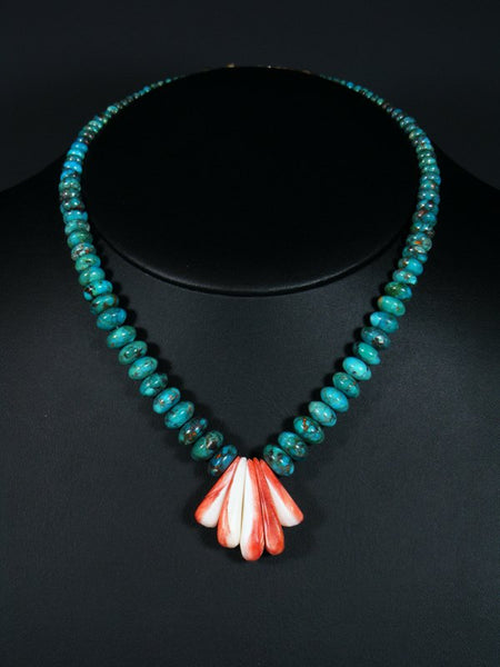 Native American Indian Jewelry Turquoise and Spiny Oyster Choker Necklace