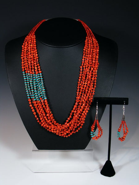 Native American Multi Strand Turquoise and Apple Coral Necklace