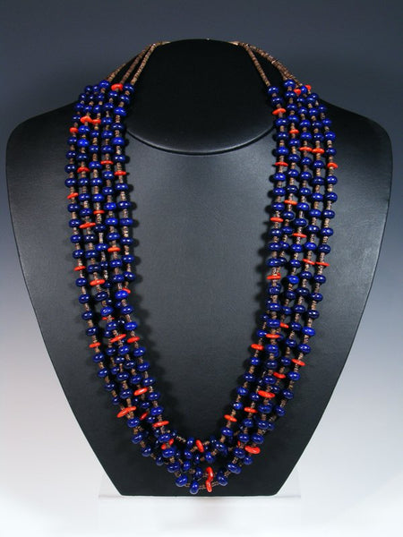 Native American Lapis Heishi and Coral 5 Strand Necklace