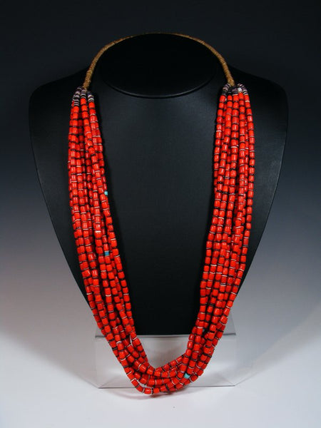 Santo Domingo Ten Strand Coral Heishi Necklace