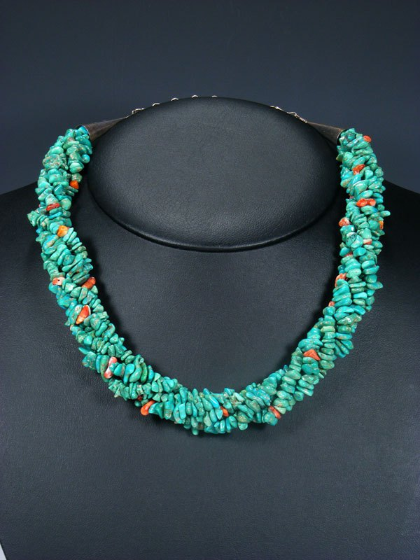 Native American Large Twist Turquoise Necklace