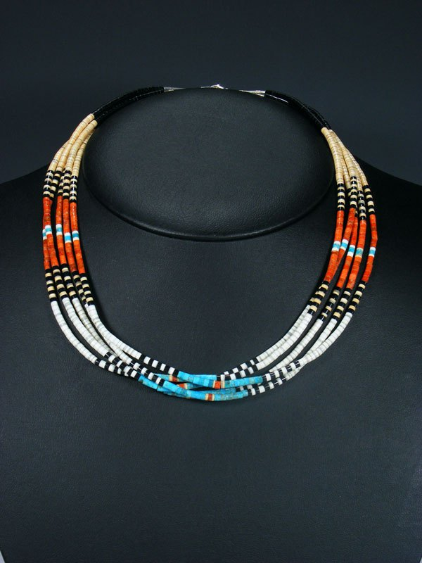 Native American Indian Bead Five Strand Santo Domingo Multi-Stone Necklace