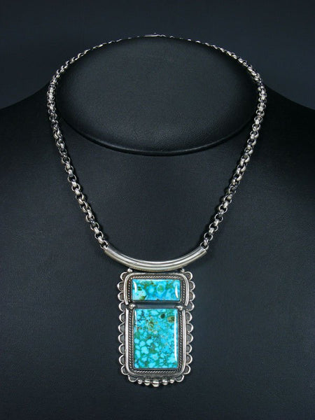 Navajo Kingman Turquoise Choker Link Chain Necklace