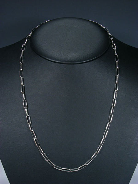 "Navajo 24"" Handmade Sterling Silver Link Chain Necklace"