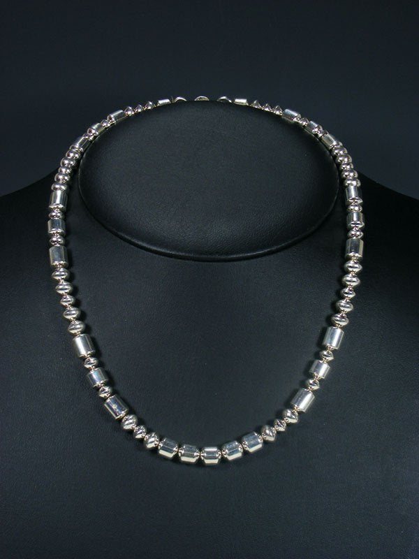 "20"" Native American Sterling Silver Bead Necklace"