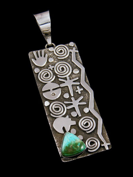 Navajo Sterling Silver and Blue Gem Turquoise Petroglyph Pendant