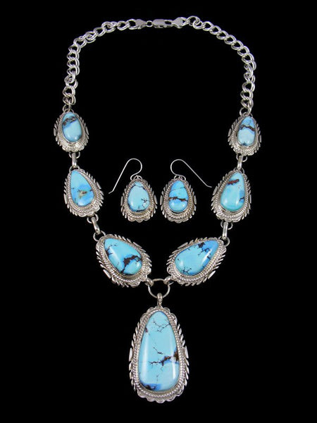 Golden Hill Turquoise Sterling Silver Tear Drop Necklace Set