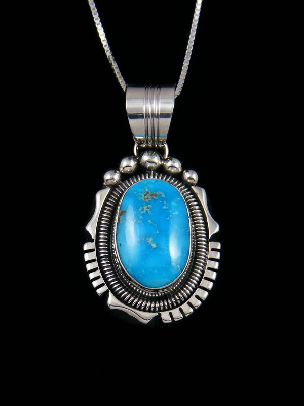 Native American Sonoran Rose Turquoise Sterling Silver Pendant