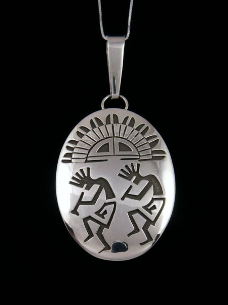 Native American Indian Sterling Silver Pictoral Kokopelli Pendant