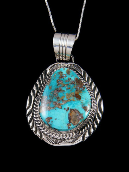 Native American Pilot Mountain Turquoise Sterling Silver Pendant