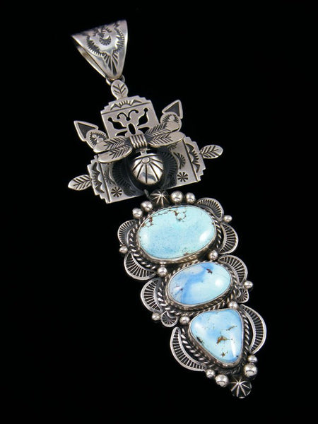 Native American Sterling Silver Golden Hill Turquoise Kachina Pendant