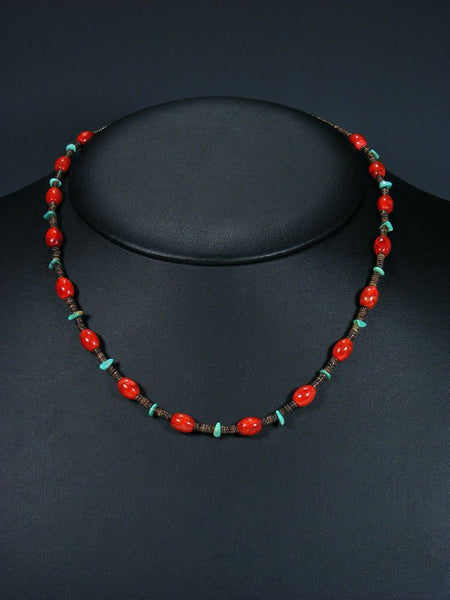 Native American Turquoise Coral and Heishi Necklace