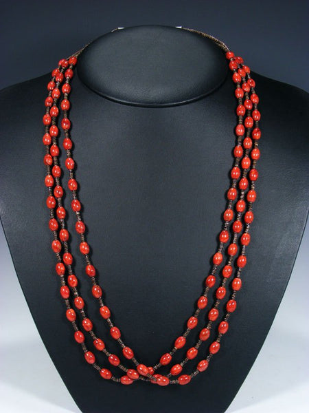 Native American Apple Coral Three Strand Necklace